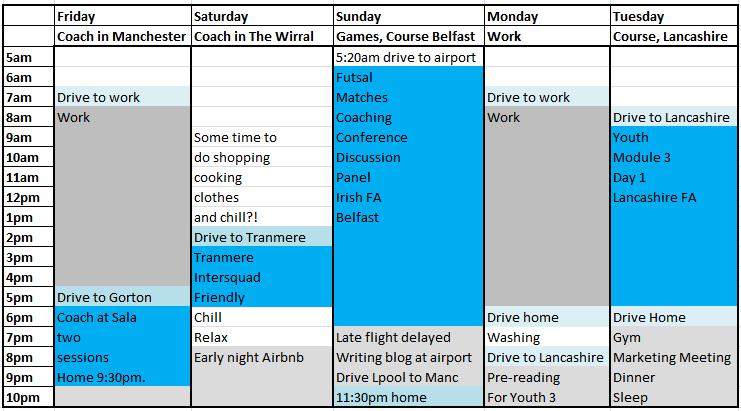 Coach Futsal Professional Club Schedule busy